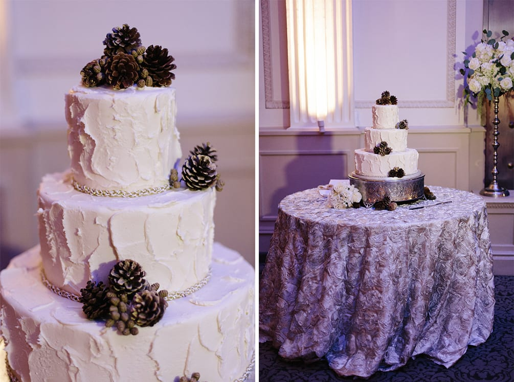 Pine cone wedding cake | Vault Wedding in St. Augustine, Florida | Treasury Blog