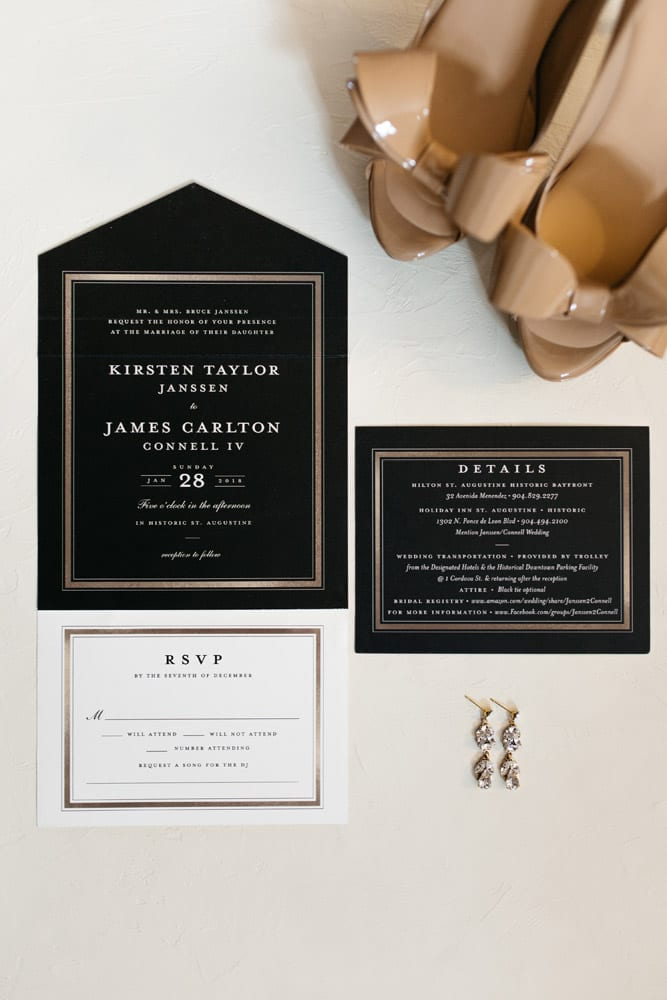Black and Gold Wedding Invitations | Kirsten + JC | Treasury on the Plaza Wedding Full of Surprises for Guests | St. Augustine Wedding Venue