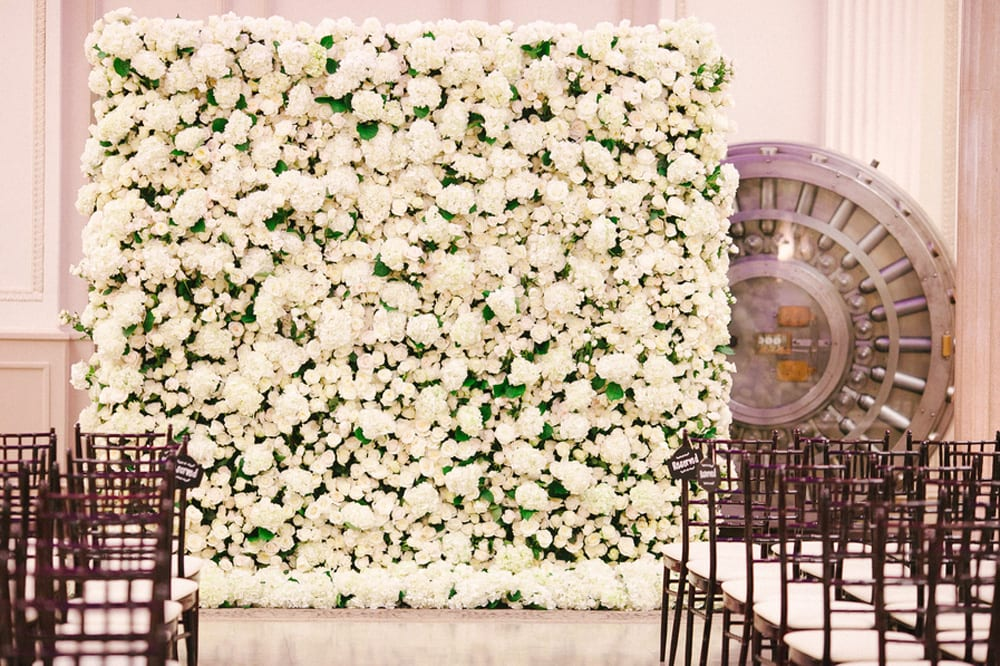 Wedding ceremony floral wall | St. Augustine Wedding Venue | The Treasury on the Plaza