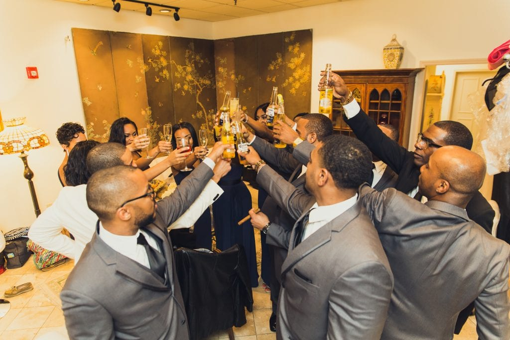 Just before formal introductions, our bridal party took a private moment to toast to the bride and groom while tucked away in our private Plaza Lounge.