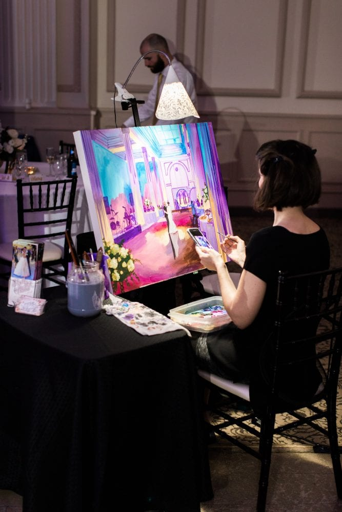 Live painting at The Treasury on the Plaza | 7 Ways to Make Your Wedding Reception More Fun