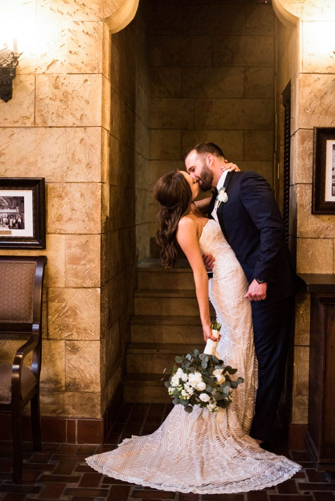 Husband and wife kiss | An Intimate Wedding in St. Augustine | Mackenzie + Nick