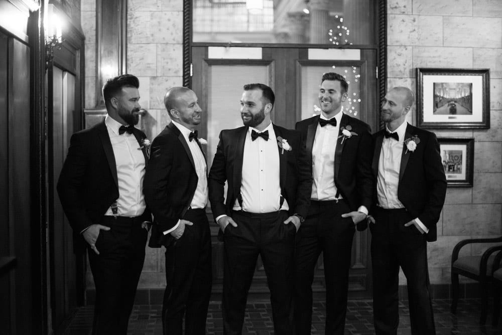 Bridal party portraits in Treasury on the Plaza lobby | An Intimate Wedding in St. Augustine | Mackenzie + Nick