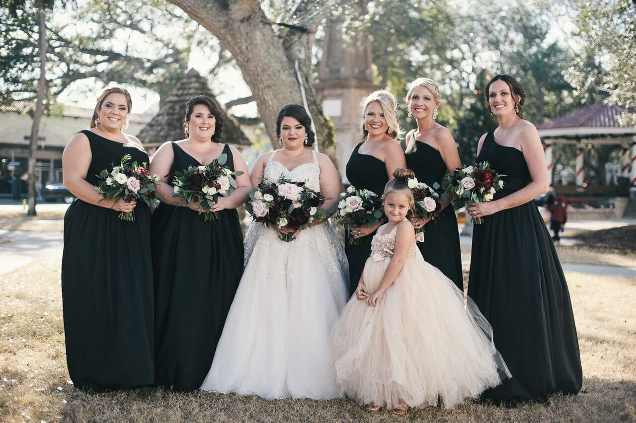 florida winter wedding | bridal party in downtown st augustine