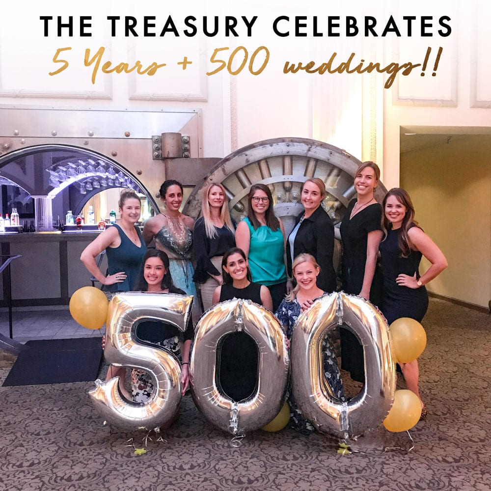The Treasury on the Plaza Celebrates 5 years and 500 Weddings! Featured Image