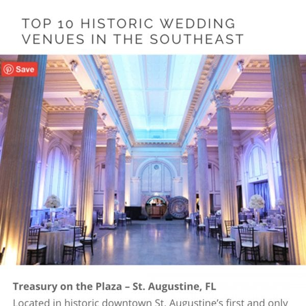 Treasury on the Plaza on Southern Bride | The Top 10 Historic Wedding Venues in the Southeast Featured Image