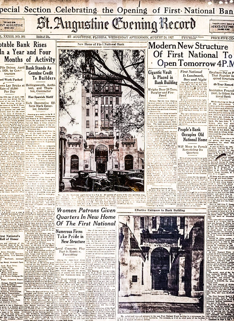 First National Bank Building Opening St. Augustine | Treasury on the Plaza History