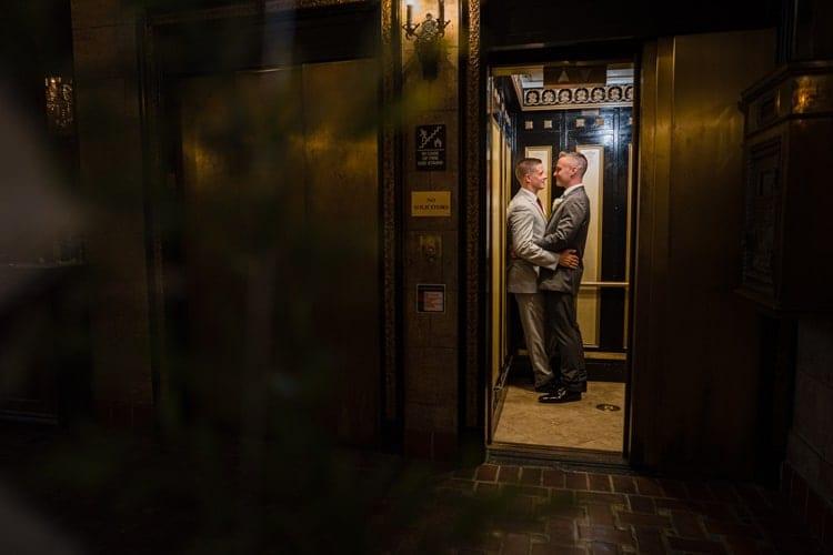 Elevator wedding pictures