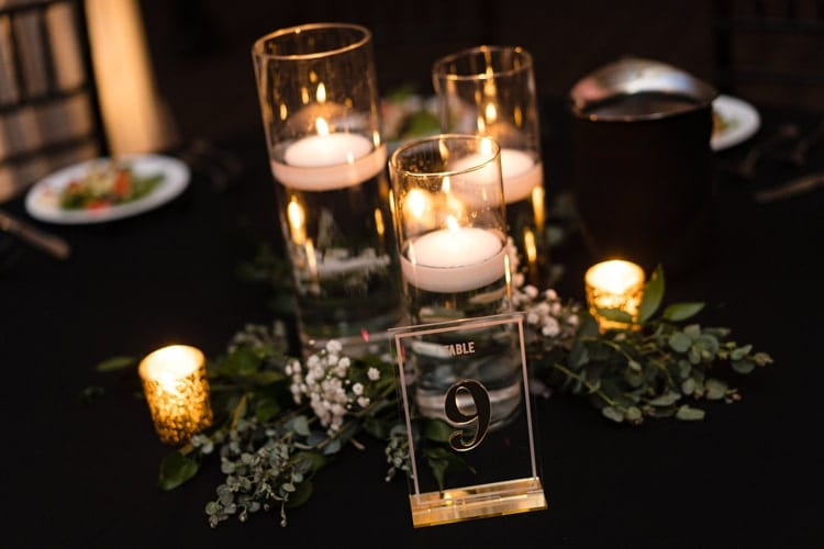 Simple wedding decorations with candles