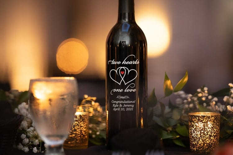 custom Wine bottle at wedding