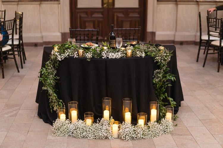 simple modern black wedding decor