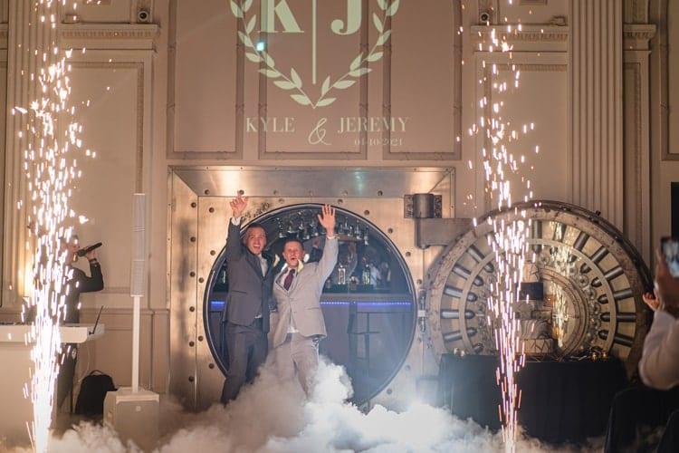 wedding reception cold spark entrance