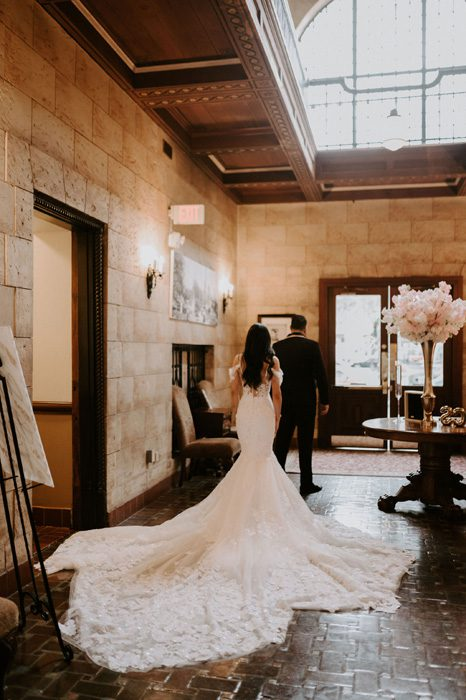 father-daughter-first look | Glam Wedding with a Rock and Roll Surprise at The Treasury | Cristal + Steven