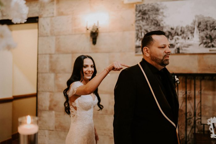 father-daughter first look | Glam Wedding with a Rock and Roll Surprise at The Treasury | Cristal + Steven