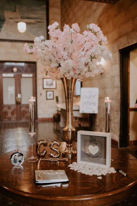 Wedding ceremony entrance decor | Glam Wedding with a Rock and Roll Surprise at The Treasury | Cristal + Steven