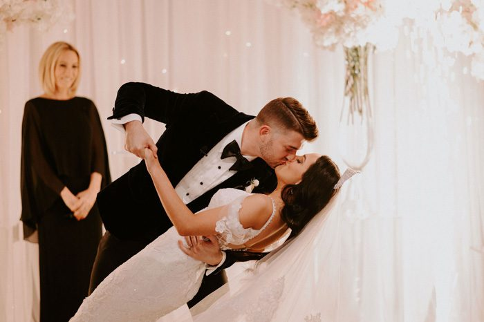 first kiss as husband and wife | Glam Wedding with a Rock and Roll Surprise at The Treasury | Cristal + Steven