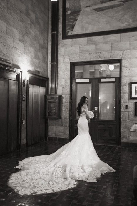 Bridal portraits in the bank foyer | Glam Wedding with a Rock and Roll Surprise at The Treasury | Cristal + Steven