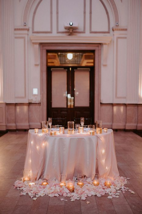 pink wedding reception decor | Glam Wedding with a Rock and Roll Surprise at The Treasury | Cristal + Steven