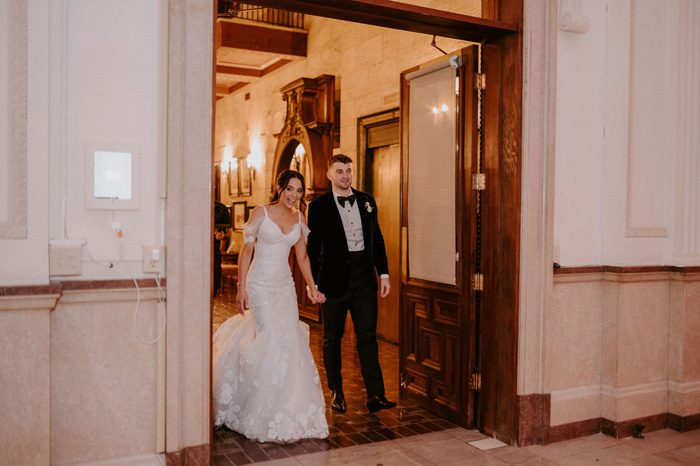private reception first look for the bride and groom | Glam Wedding with a Rock and Roll Surprise at The Treasury | Cristal + Steven