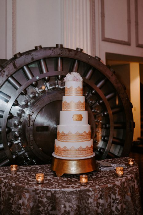 wedding cake | Glam Wedding with a Rock and Roll Surprise at The Treasury | Cristal + Steven