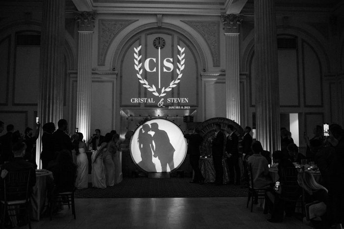 wedding reception entrance from the vault | Glam Wedding with a Rock and Roll Surprise at The Treasury | Cristal + Steven