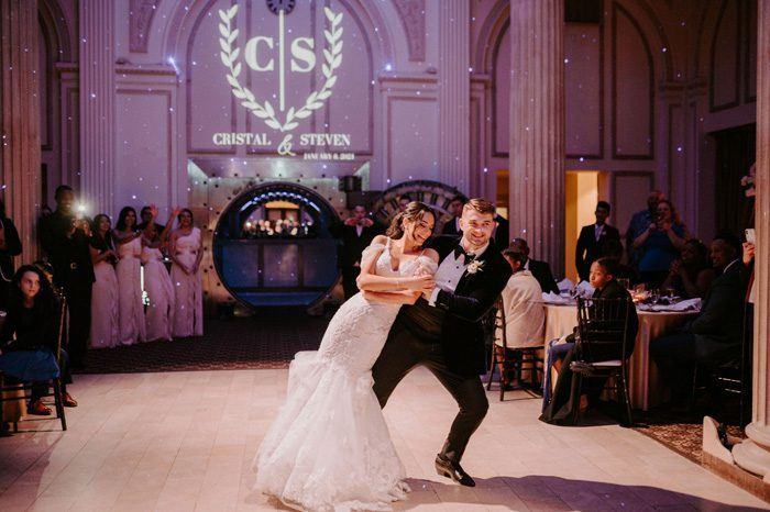 first dance | Glam Wedding with a Rock and Roll Surprise at The Treasury | Cristal + Steven