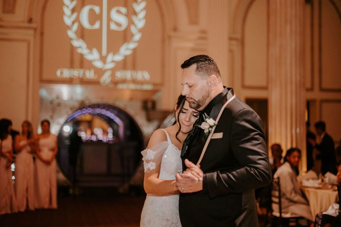 father daughter dance | Glam Wedding with a Rock and Roll Surprise at The Treasury | Cristal + Steven