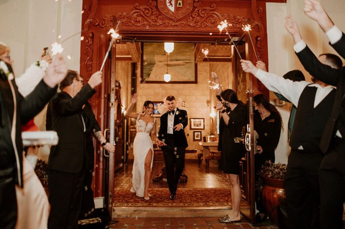 Glam Wedding exit with sparklers | Cristal + Steven