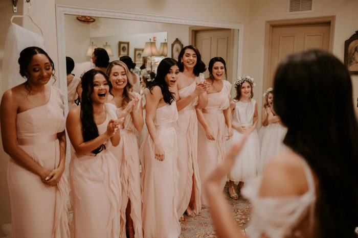 bridesmaids first look | Glam Wedding with a Rock and Roll Surprise at The Treasury | Cristal + Steven